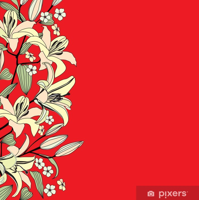 Plakát Červené pozadí s květy lilie. Květinové vektorové hranice - Pozadí