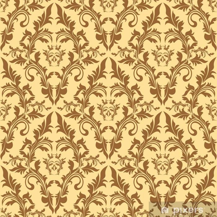 Sticker Pixerstick Seamless motif de damassé floral dans des tons beiges. - Arrière plans