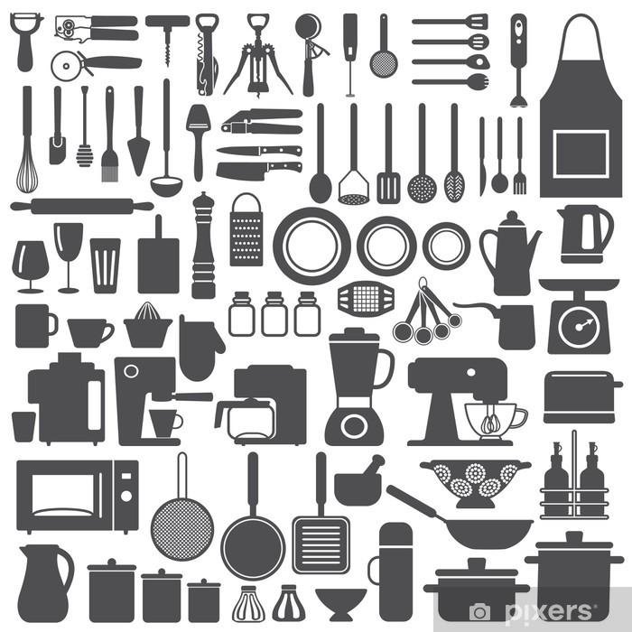 Fototapeta zmywalna Podobne naczynia kuchenne i urządzenia sylwetka ikony - Przeznaczenia