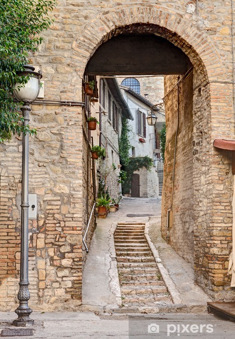 ancient alley in Bevagna, Italy Pixerstick Sticker - Themes