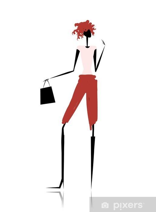Vinyl-Fototapete Fashion Girl Silhouette mit Einkaufstasche - Fashion