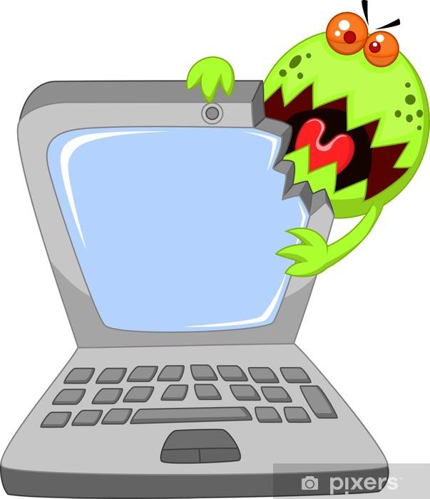 Papier peint vinyle Laptop attaquer par un virus - Ordinateurs