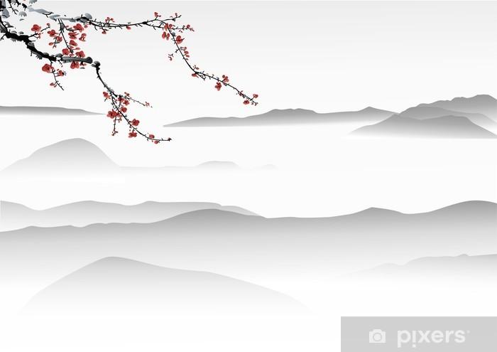 Papier peint vinyle Montagne Peinture Peinture chinoise - Thèmes