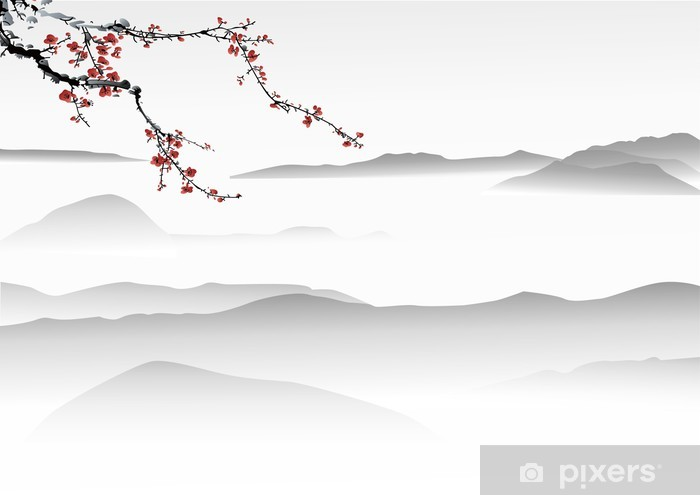 mountain painting chinese painting Pixerstick Sticker - Themes