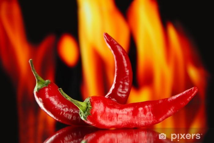 Pixerstick Sticker Red hot chili peppers op brand achtergrond -
