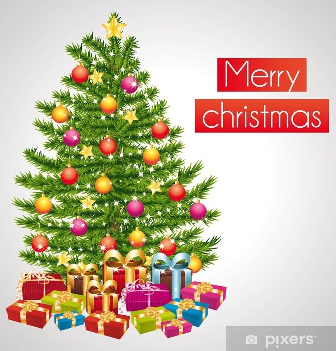 Adesivi Buon Natale.Adesivo Buon Natale Biglietto Di Auguri Con Albero Di Natale Decorato Pixers Viviamo Per Il Cambiamento