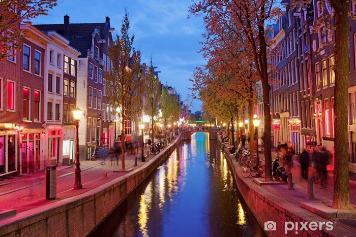 Vinyl Fotobehang Red Light District in Amsterdam - Thema's