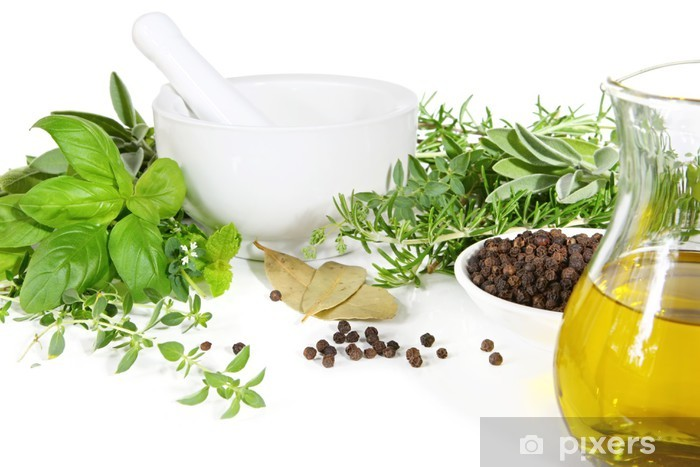 Mortar and pestle with fresh herbs and spices. Pixerstick Sticker - Herbs