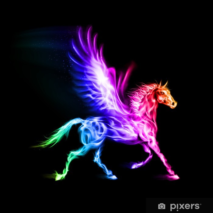 Colorful Fire Pegasus Wall Mural Pixers 174 We Live To