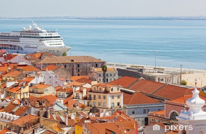 big tourist ship to stand in the port of Lisbon, Portugal Vinyl Wall Mural - Urban