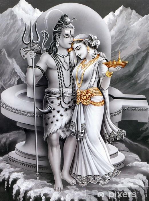 Sticker Pixerstick Dieu indien et déesse de rebut et parvti - Art et création