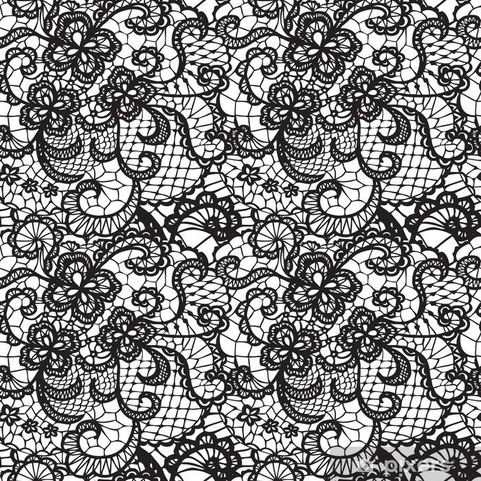 Naklejka Pixerstick Koronki czarnego powtarzalne z kwiatów na białym tle - Abstrakcja