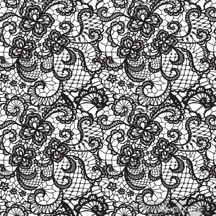 Lace black seamless pattern with flowers on white background Vinyl Wall Mural - Abstraction