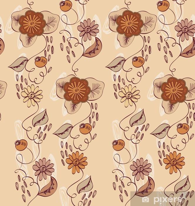 Fototapeta winylowa Bez szwu deseń z rysowane ręcznie brązowe kwiaty. - Tła