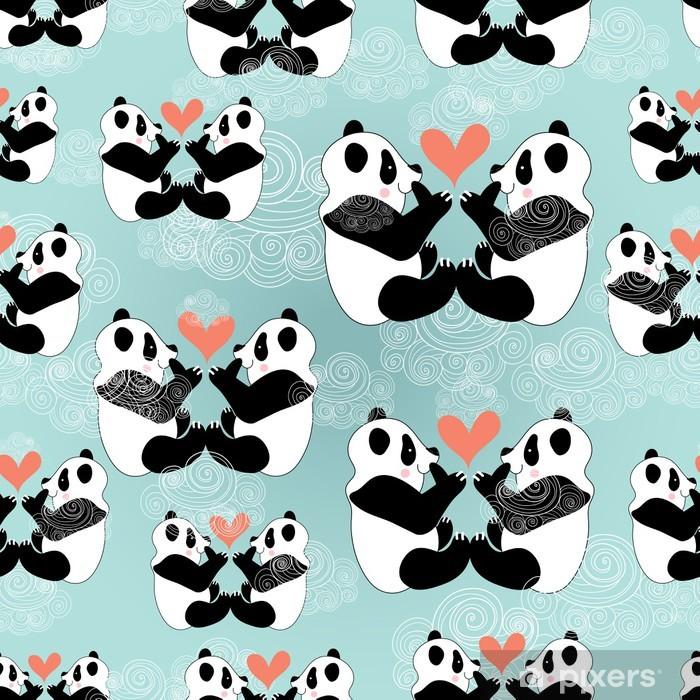 Papier peint vinyle Amants de panda de texture - Saint Valentin