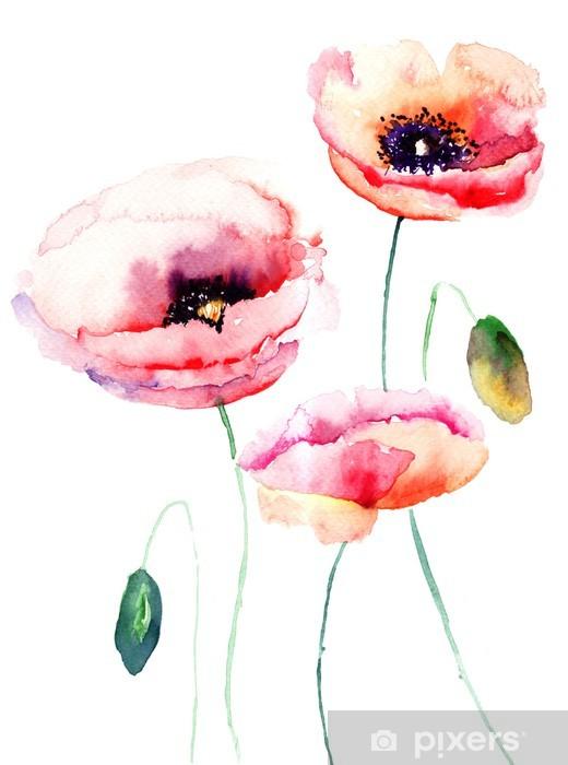 Sticker Pixerstick Fleur rose coloré - Styles