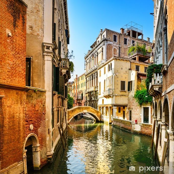 Venice cityscape, buildings, water canal and bridge. Italy Pixerstick Sticker -