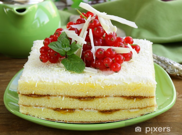 sponge cake with white chocolate, decorated with red currant Pixerstick Sticker - International Celebrations