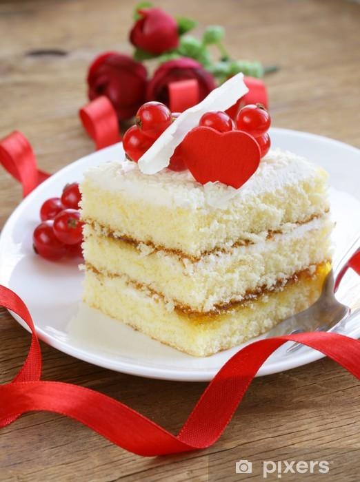 Naklejka Pixerstick Biszkopt z białej czekolady, ozdobione czerwonych porzeczek - Święta międzynarodowe