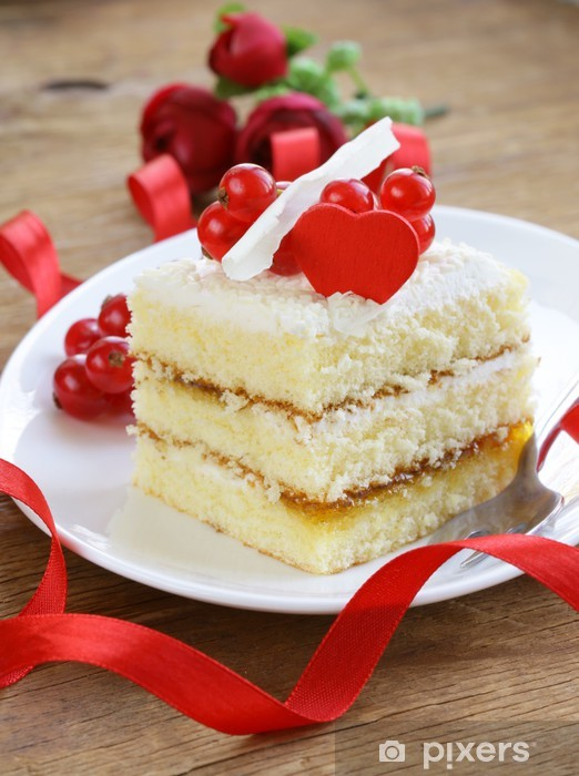 sponge cake with white chocolate, decorated with red currant Vinyl Wall Mural - International Celebrations