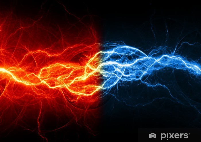 Fire And Ice Abstract Lightning Background Sticker Pixerstick