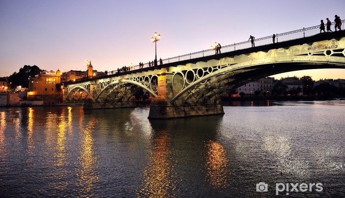Triana Bridge at dusk, Seville, Spain Pixerstick Sticker - Themes