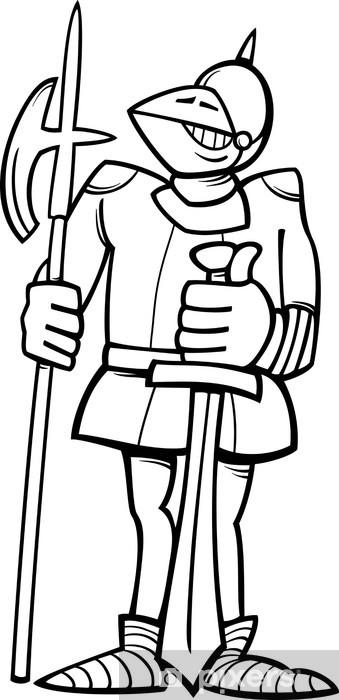 Adesivo Cavaliere In Armatura Da Colorare Dei Cartoni Animati