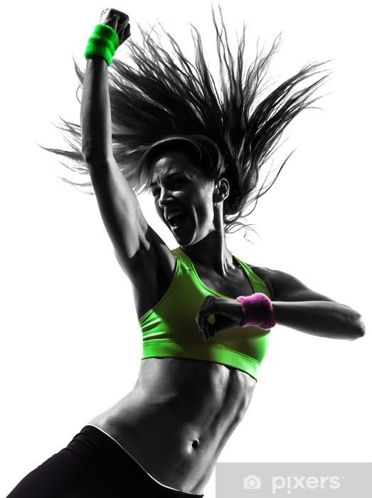 Fototapet av Vinyl Kvinna utövar fitness zumba dans silhuett -