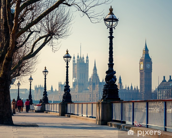 Promenade in London with a view of Big Ben and the Houses of Parliament Vinyl Wall Mural - Themes