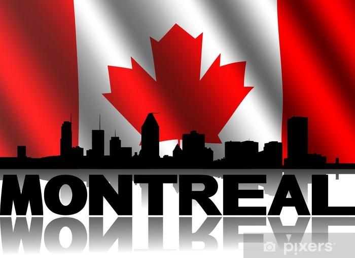 Vinilo Pixerstick Montreal texto horizonte con la ilustración ondulado bandera canadiense - PI-31
