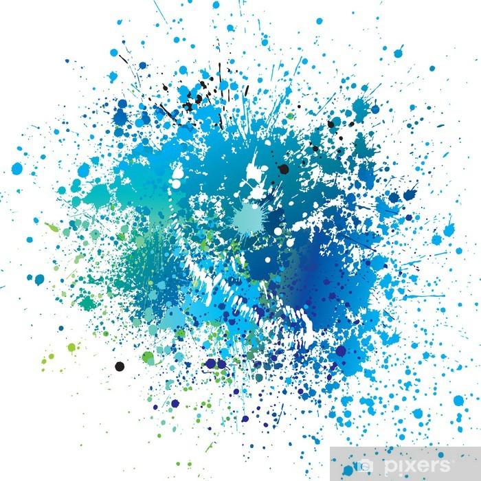 Poster Achtergrond met blauwe vlekken en sprays. Vector illustratie. - Achtergrond