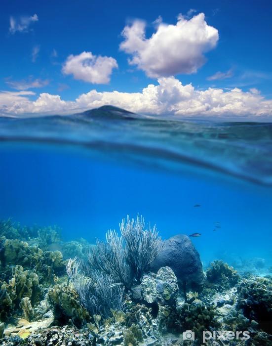 Vinilo Pixerstick Arrecife de coral con cielo azul nublado horizonte dividido - Arrecife de coral