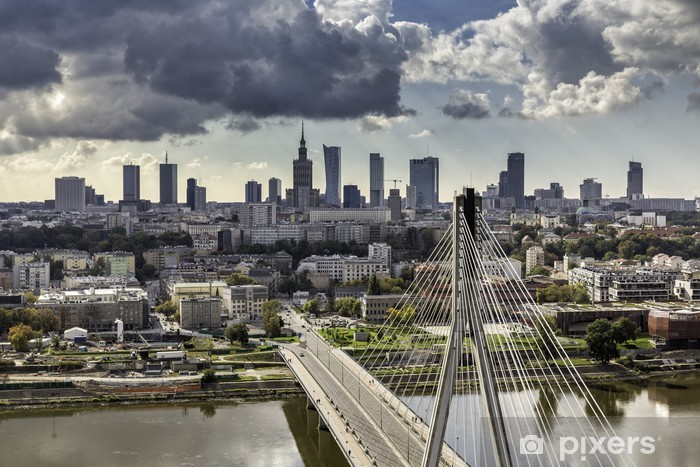 Warsaw skyline behind the bridge Vinyl Wall Mural - Themes