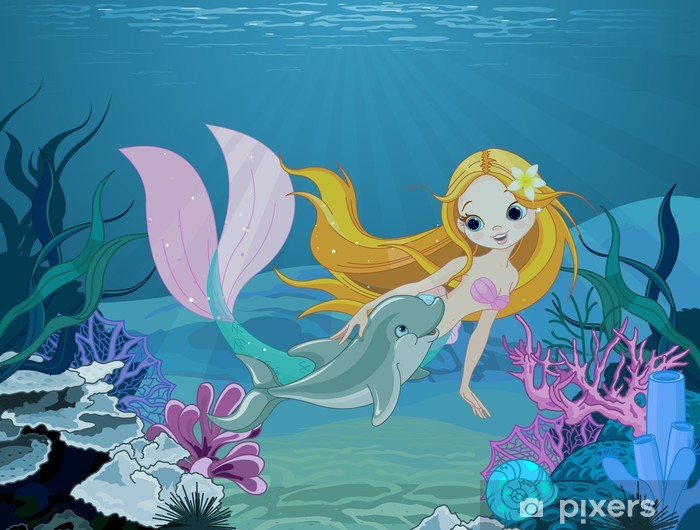 Mermaid and dolphin background Vinyl Wall Mural - Pupil