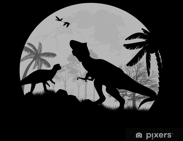 Dinosaurs vector Silhouettes in front a full moon Vinyl Wall Mural - Themes