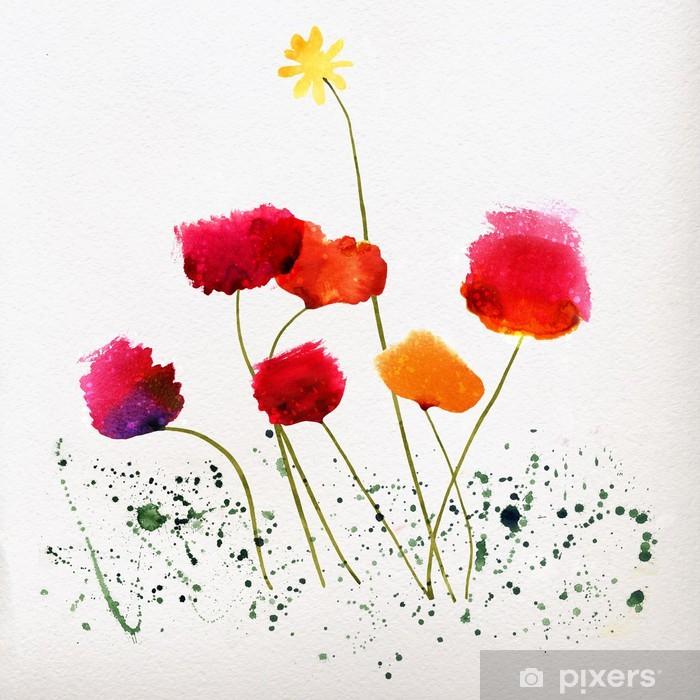 Watercolor flowers Vinyl Wall Mural - Backgrounds