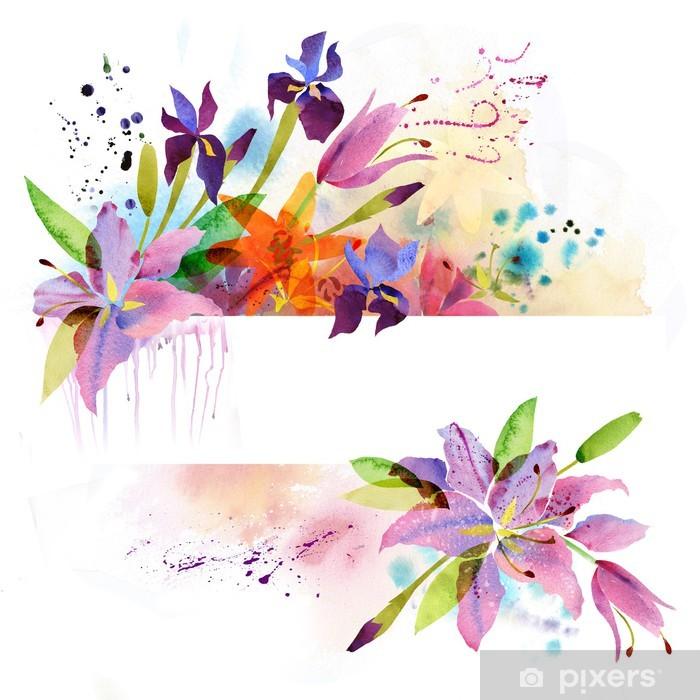 Naklejka Pixerstick Floral tła z kwiatów akwarelą - Tła