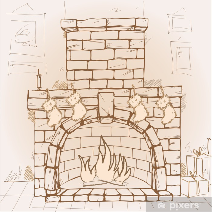 Hand drawn Christmas fireplace Wall Mural , Vinyl