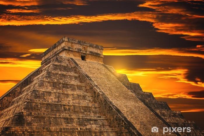 Kukulkan Pyramid in Chichen Itza Site Pixerstick Sticker - Monuments