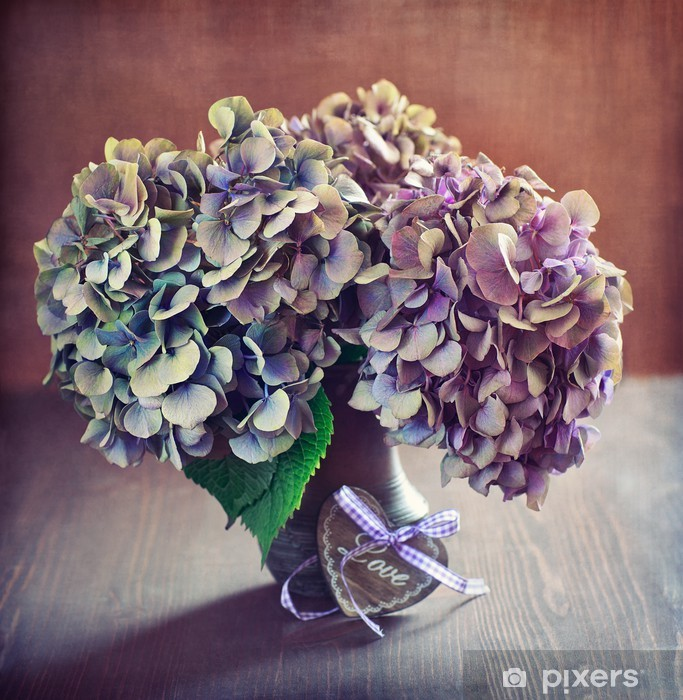 purple hydrangea flowers and a wooden heart on a table. Pixerstick Sticker - International Celebrations