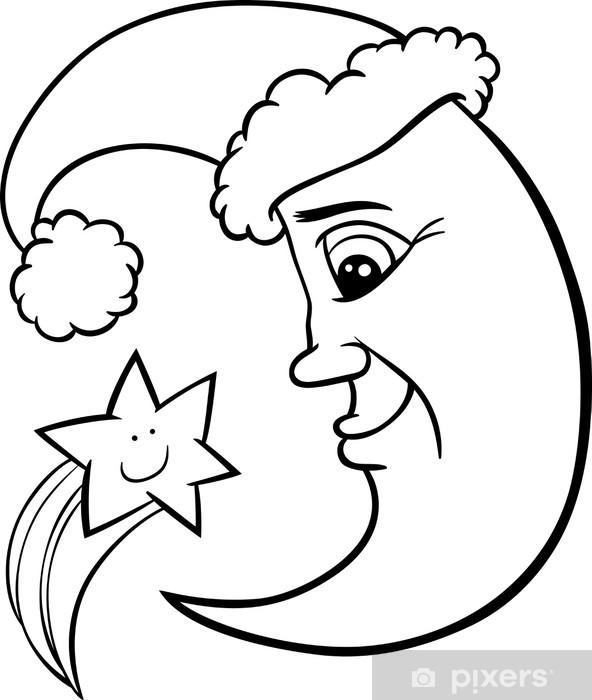 Coloriage Etoile.Sticker Lune Et Coloriage Etoile De Noel Pixerstick