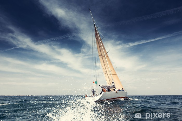 Sailing ship yachts with white sails Pixerstick Sticker - Summer