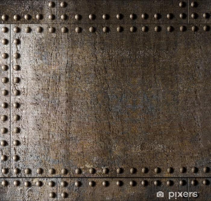 Fototapeta winylowa Metal z nitami tło - Tekstury