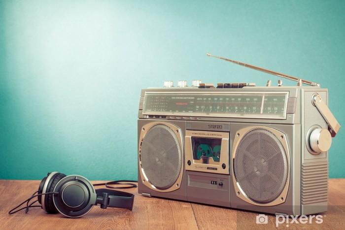 Retro cassette ghetto blaster and headphones in front mint green Vinyl Wall Mural - Music