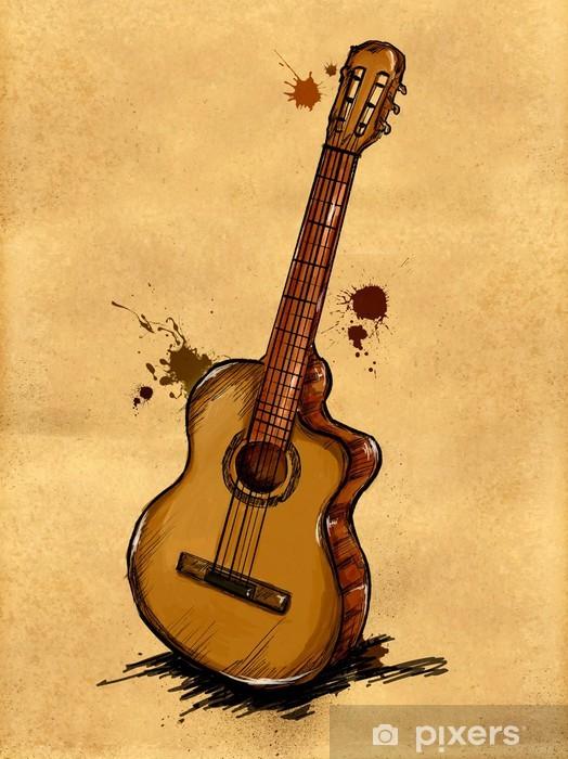 Guitar Painting Image Wall Mural Vinyl