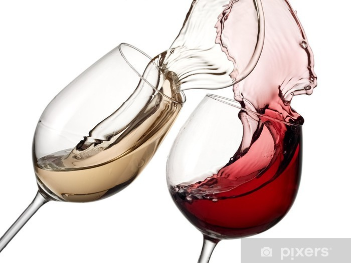Red and white wine up together Pixerstick Sticker - Themes