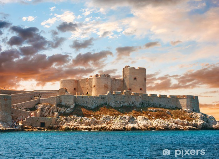 Pixerstick Sticker Zonsondergang over beroemde Als kasteel Château d'If, Marseille, Frankrijk - Thema's