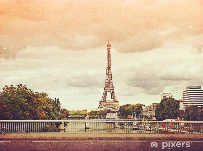 Papier peint vinyle Photo rétro avec Paris, France, cru - Thèmes