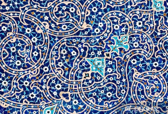 Naklejka Pixerstick Kaflowy w tle, orientalne ornamenty Meczet z Isfahan, Iran - Style