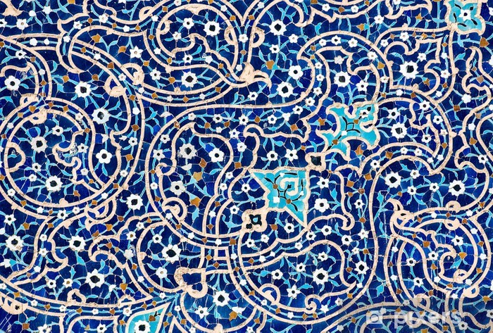 tiled background, oriental ornaments from Isfahan Mosque, Iran Pixerstick Sticker - Styles